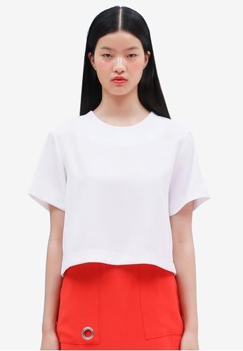 韓式風格背面繫帶短esprit台灣袖上衣, 服飾, 上衣