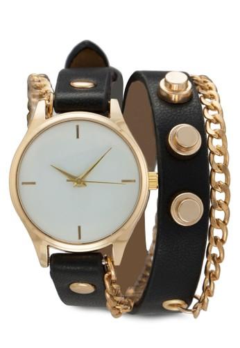 鉚釘仿皮鍊式esprit服飾手錶, 錶類, 飾品配件