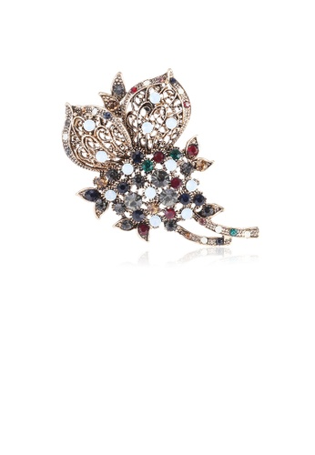 Glamorousky silver Elegant Vintage Plated Gold Geometric Flower Brooch with Cubic Zirconia ED1E2ACDDF5415GS_1
