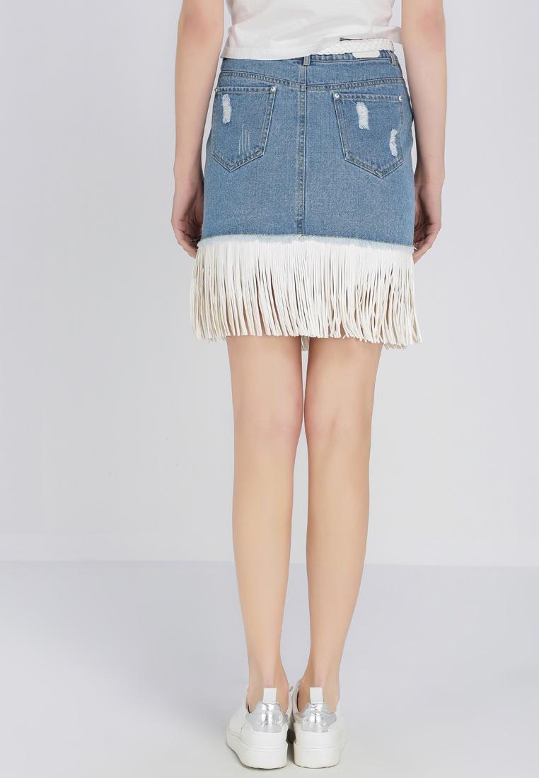 Tassels Skirt Denim Denim Hopeshow With Blue pZq7B