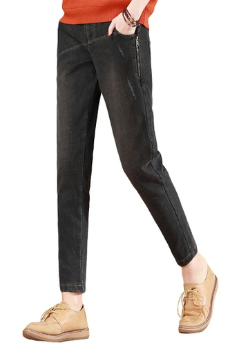 A-IN GIRLS black Elastic Waist Plus Velvet Jeans 72C45AA0597787GS_1