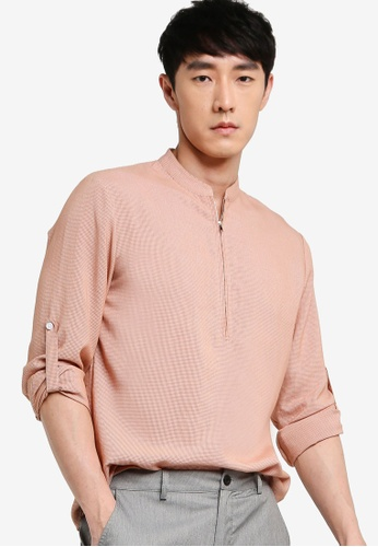 ZALORA BASICS multi Half Zip Stand Collar Short Sleeve Shirt 8DC01AA73766ADGS_1