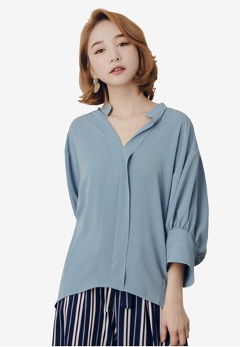 Kodz blue V-Neck Hi-Low Blouse ACE26AA9FEBFBBGS_1