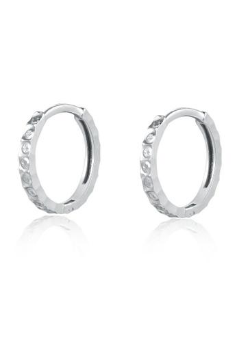 MaBelle silver 14K 585 White Gold Diamond Cut Hoop Earrings 80250AC8804D1CGS_1