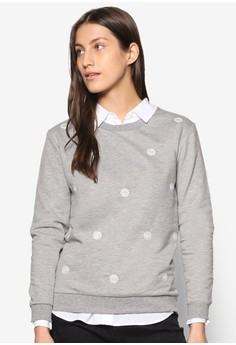 Dorothy Perkins grey Grey Embroidered Daisy Sweatshirt DO816AA26ZSRMY_1