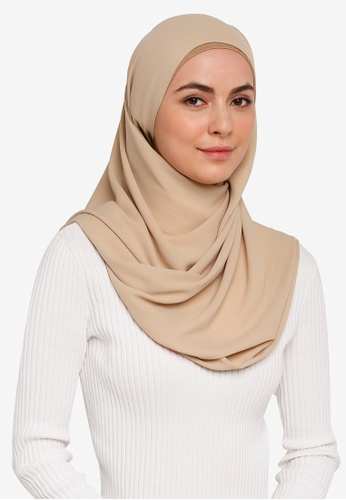 Hijabii brown Huda Chiffon Scarf in Light Khaki 27B70AAB2034E8GS_1