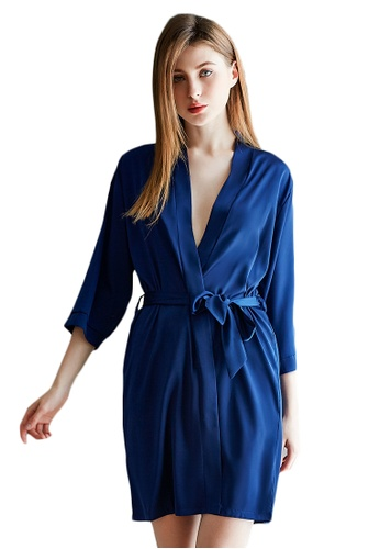 LYCKA blue LMX1064-Lady One Piece Casual Robe Nightwear-Blue BEC88AAE59ED1DGS_1