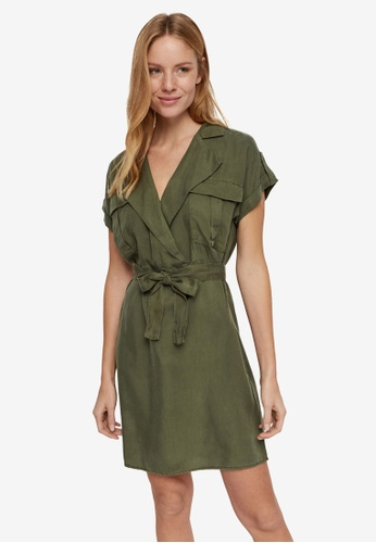 Noisy May green Vera Short Sleeve Endi Tencel Shirt Dress 3A717AAC49A46DGS_1