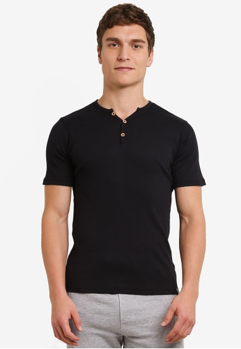 Indicode Jeans black Emanuel Ribbed Grandad T-Shirt IN815AA0ROMBMY_1
