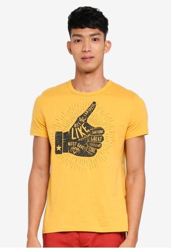 OVS 金色 短袖印花T恤 796FEAA8A40B91GS_1