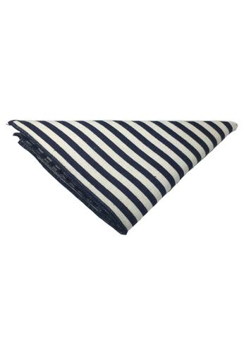 Splice Cufflinks white and blue Tomahawk Series Blue Stripes Design Cotton Pocket Square   SP744AC04DJZSG_1