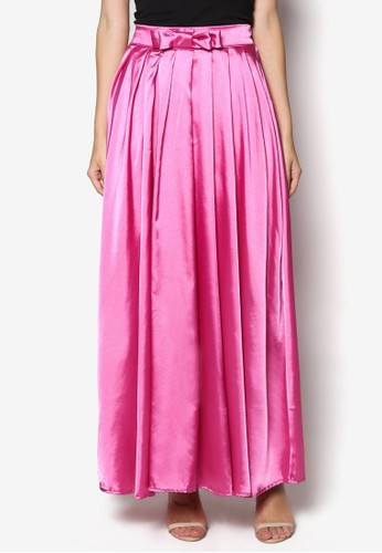 esprit女裝Bowed Satin Maxi Skirt, 服飾, 裙子