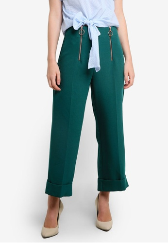 TOPSHOP green Double Zip Crop Wide Trousers TO412AA0RFTMMY_1