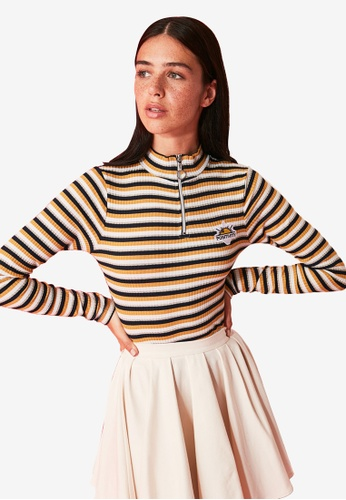 Trendyol yellow Embroidered Stripe Knit Blouse 2EE10AA33878B1GS_1