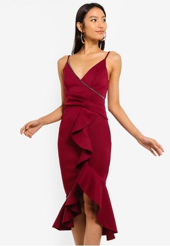 Lipsy red Ruffle Embellish Dress A0CAEAA4F72A0AGS_1