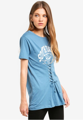 Brave Soul blue T-Shirt With Front Print Corset Style Lace Up Detail At Front DA033AA5CE73C1GS_1