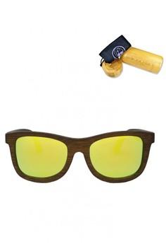 Black Walnut Frame, Golden Yellow Flash Lens Wooden Sunglasses