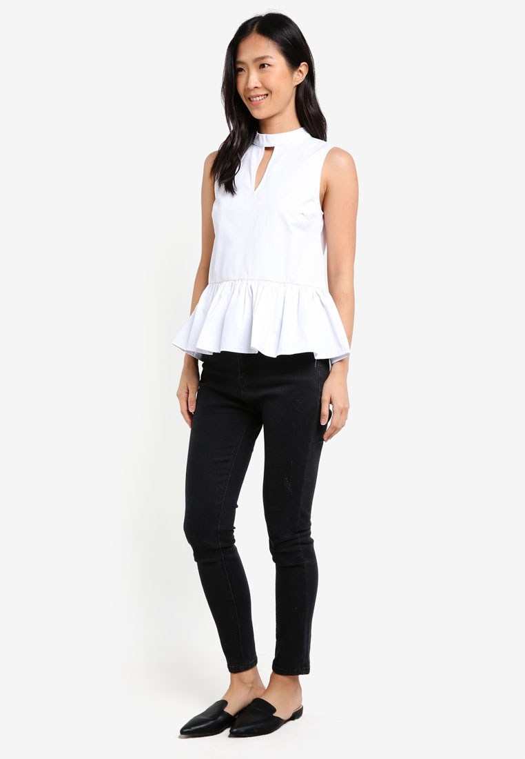 Top With Peplum Key Neck High ZALORA White Hole SwtOqAc