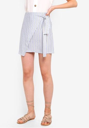 Something Borrowed 白色 and 藍色 綁帶交叉造型裙 46DAAAA28EB97EGS_1