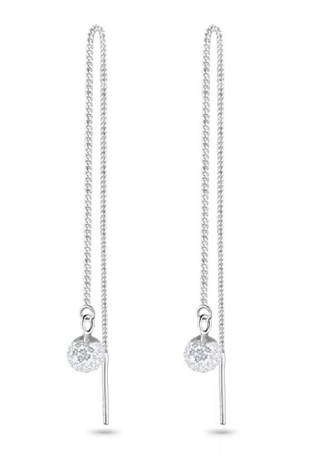 Elli Germany white 925 Sterling Silver Anting Drop Chain Swarovski® Putih F41D4AC1CE02DDGS_1