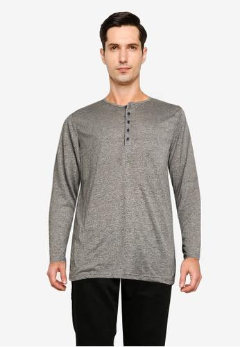UniqTee grey Button Cotton Tee 00745AA7286843GS_1