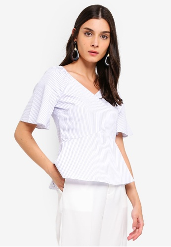 ZALORA 紫色 and 多色 Sweetheart Neckline Flare Sleeves Top 379B3AAAFC9A8FGS_1