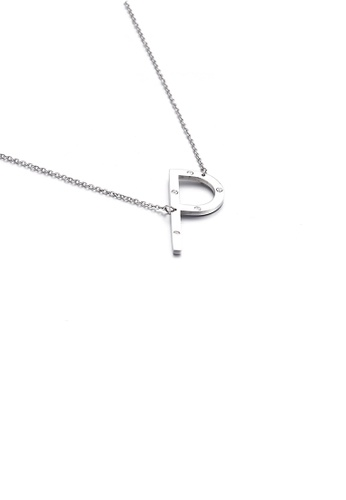 Glamorousky white Simple Personality English Alphabet P 316L Stainless Steel Pendant with Cubic Zirconia and Necklace 3DA41AC88CF5EBGS_1