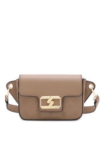 Swiss Polo brown Logo Metal with Embossed Crossbody Bag D1E78AC63CF14FGS_1