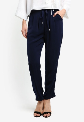 ZALORA navy Drawcord Trousers 32AD9AA2EECD38GS_1