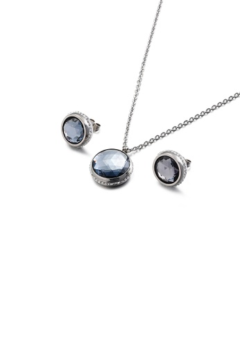 Glamorousky white Fashion Temperament Geometric Round 316L Stainless Steel Necklace and Stud Earring Set with Grey Cubic Zirconia 9007AAC7B1E809GS_1