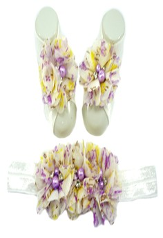 Baby Headband and Barefoot Sandals (Floral Printed) White Set 0mons+