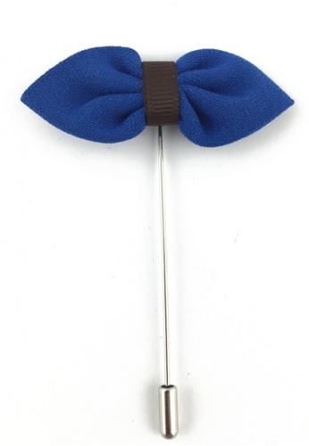 Splice Cufflinks silver Blue Fabric Bow Lapel Pin SP744AC85FJASG_1