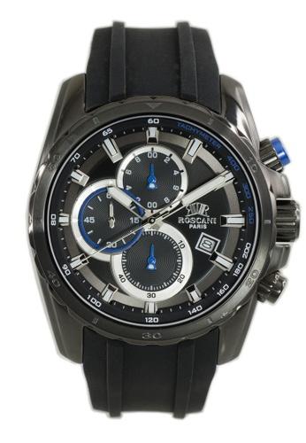 Roscani black Roscani Gustav 989 (Chronograph + WR 5ATM) Black Blue Silicone Men Watch 52B45ACC0E74D5GS_1