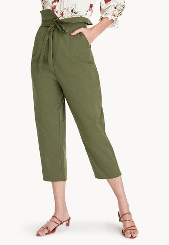 Pomelo green Folded High Waisted Paperbag Pants - Green AA944AA73CF3A7GS_1