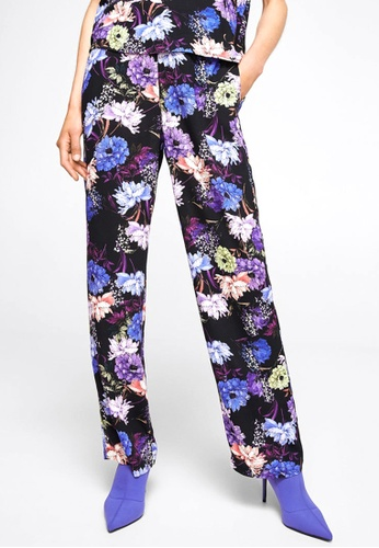 Mango black and multi Floral Print Trousers MA193AA0RBVYMY_1