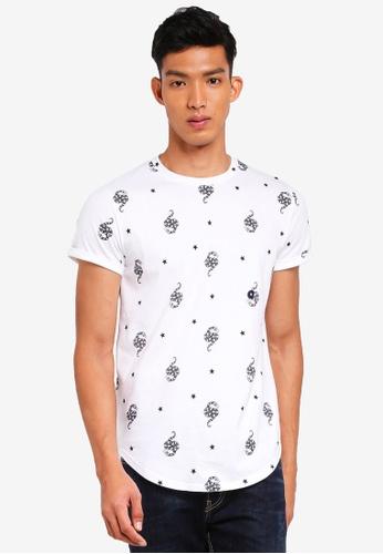 Hollister white Curved Hem Pattern T-Shirt 0DC30AA6335614GS_1