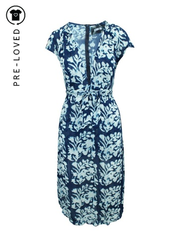 Reformation blue Pre-Loved reformation Blue Print Midi Dress with Belt C02F6AAAD9A12BGS_1