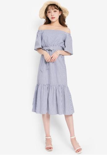 YOCO blue Striped Off-Shoulder Peplum Dress 89C73AA7A2F770GS_1