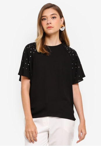 Dorothy Perkins black Black Studded Frill Sleeve Top 7190AAAD80F1C8GS_1