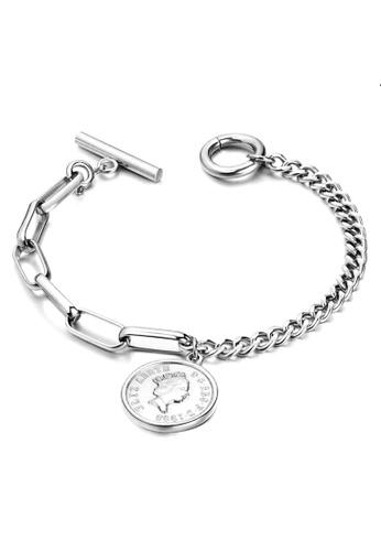 YOUNIQ 銀色 ELIZ鈦鋼伊麗莎白女王錢幣吊墜銀色鏈手鏈 63299ACA621103GS_1