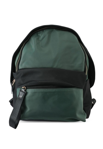 NUVEAU green Oxford Nylon Colour Block Backpack 4EEACAC30195DAGS_1