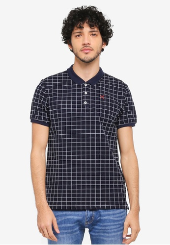 JAXON blue Checked Polo Shirt 687CDAADA354A7GS_1