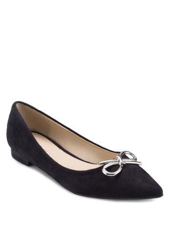 金屬蝴蝶結尖頭平底zalora鞋鞋, 女鞋, 鞋