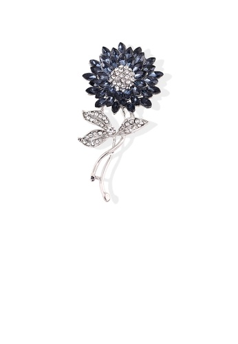 Glamorousky white Elegant Bright Sunflower Brooch with Blue Cubic Zirconia 0534EAC0B58101GS_1