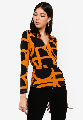 ZALORA black and multi Wrap Knit Top 8DFE3AAFA9CC7BGS_1