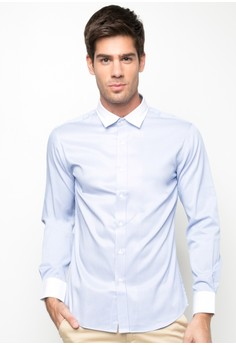Long Sleeve Shirt with White Collar and Cuffs
