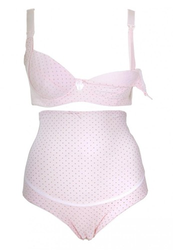 Cynthia pink Modern Mom-Polkadot Nursing Bra With Panty-Pink CY646US73HHMID_1