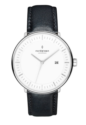 Nordgreen black and silver Nordgreen Philosopher Silver 36 mm - Black Leather Watch 54D57ACCA93196GS_1