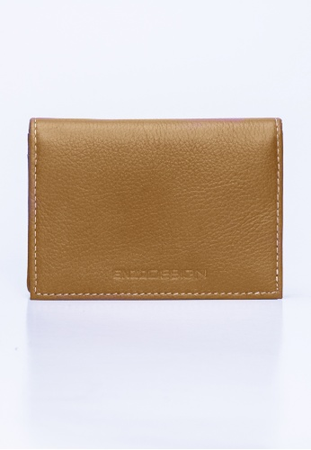 ENZODESIGN brown Soho Tan Color Leather Business Card Holder EN880AC29GXYHK_1