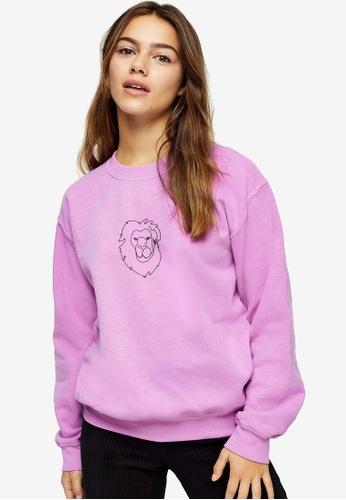 TOPSHOP grey PETITE Pink Lion Line Sweatshirt 61189AADDE3D6BGS_1